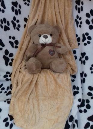 Плед с игрушкой медвежонок
