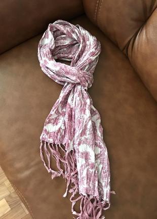 Хлопковый шарф с вышивкой люриксовой нитью