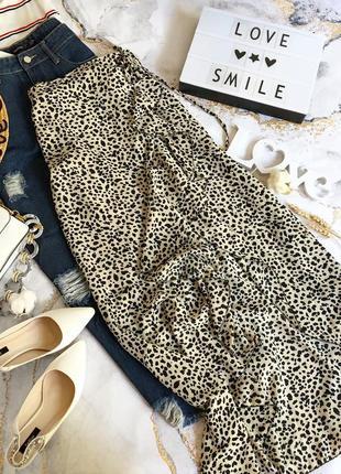 Летняя макси юбка на запах в леопардовый принт