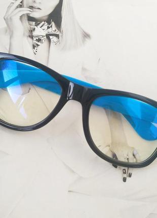 Имиджевые очки с прозрачной линзой анти блик чёрный с голубым