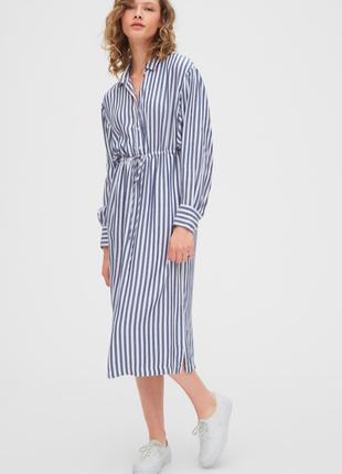 Gap новое натуральное платье рубашка в полоску длинное миди вискоза с поясом