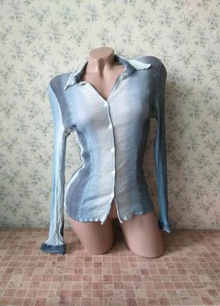 Рубашка mexx. блуза градиент / омбре. рубашка градиент /омбре. голубая блуза. серая блуза