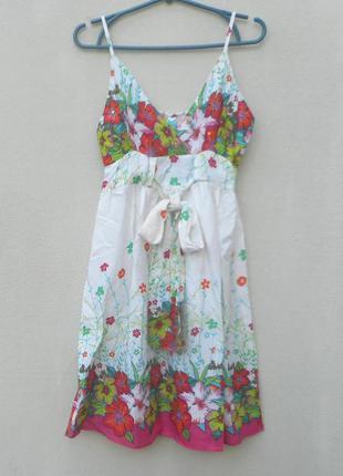 Летнее платье сарафан из хлопка с орнаментом