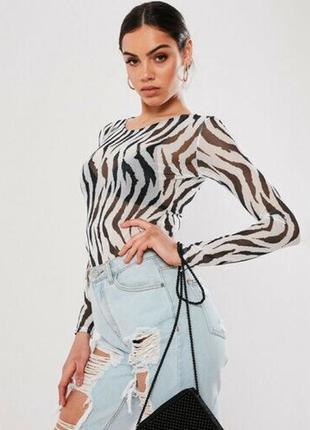 Прозрачный модный топ зебра с длинным рукавом new look р. м кофта лонгслив прозрачный