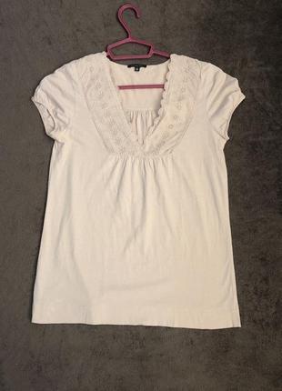 Нарядная футболка с мережкой/вышиванка/блузка massimo dutti