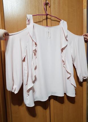 Нежная блузка светло-розовая, лёгкая блузочка с открытыми плечами