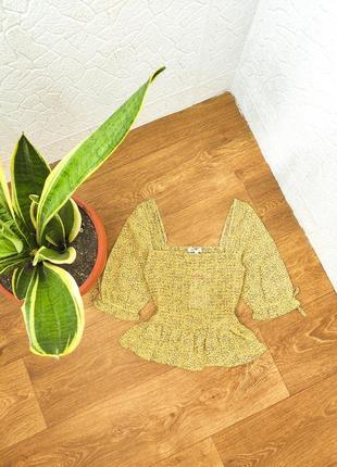 Блуза рубашка горчичная жёлтая шифоновая жатая