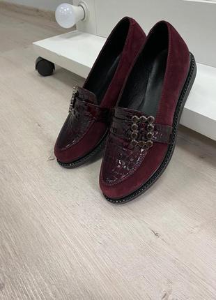 Туфли кожа замш низкий ход