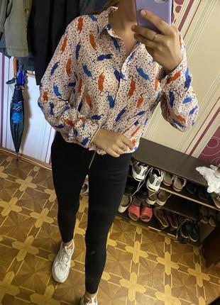 Шикарная рубашка блузка в трендовая леопардовый принт сорочка большой размер