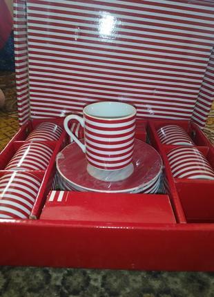 Кофейный сервиз полосатый в полоску