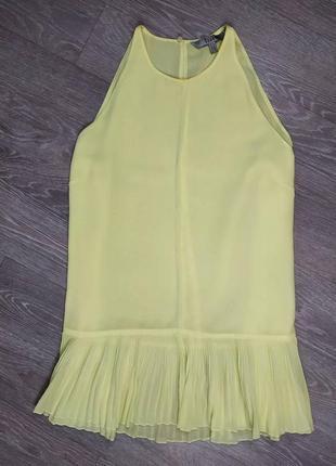 Жёлтая блуза с низом плиссе