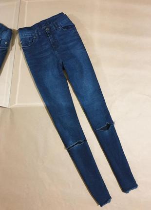 Синие джинсы высокая посадка skinny