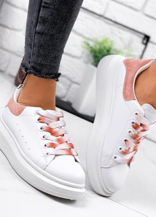 Кроссовки женские qalexander белые + пудра