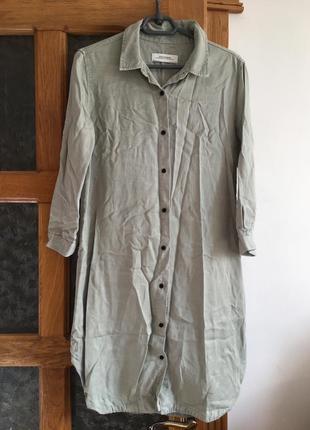 Суперова сорочка плаття zara premium фісташкового кольору на гудзиках 100% ліоцел