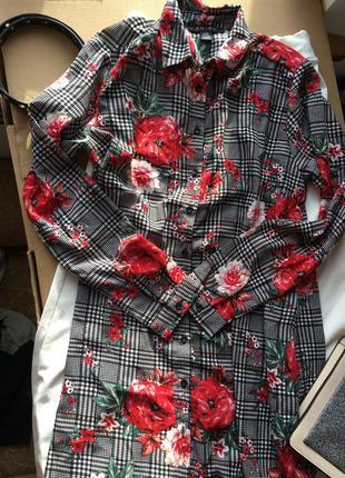 Красиве плаття сорочка в квіти amisu платье рубашка