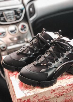 Christian dior d-connect black кожаные кроссовки диор черный цвет (36-40)💜