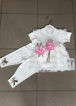 Нарядный костюмчик с повязкой для  маленьких принцесс на возраст от 1 до 6 месяцев.