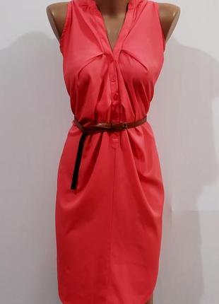 Роскошное коралловое шелковое платье рубашка размер: 62-3xl-4xl