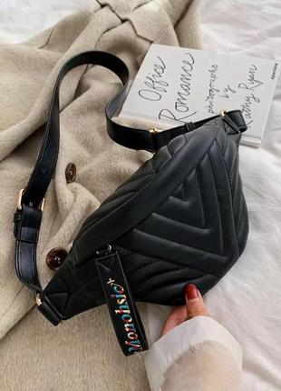 Женская бананка черная / жіноча сумка на пояс