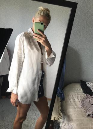 Шикарная рубашка шёлк блуза в полоску