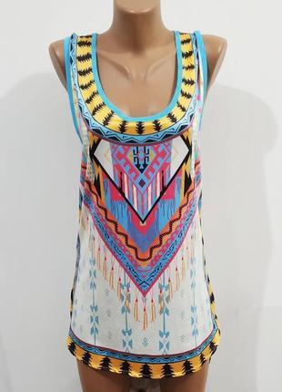 Стильное платье сарафан туника принтом размер: 52-xl