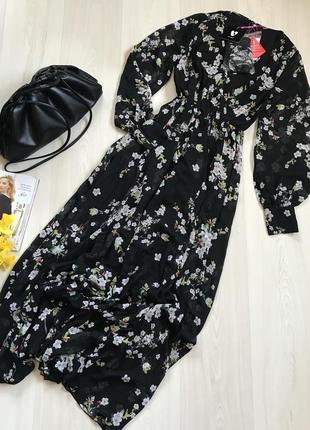 Новое шикарное длинное шифоновое платье by very размер s