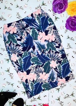 🎁1+1=3 шикарная трикотажная юбка - карандаш до колен new look, размер 44 - 46