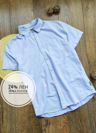 Рубашка с коротким рукавом тенниска оригинал лен хлопок