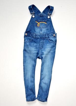 Little bird. джинсовый комбинезон с вышивкой, 2-3 года, 98 см рост, 100% хлопок