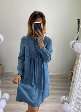 Джинсовое платье mango с длинным рукавом