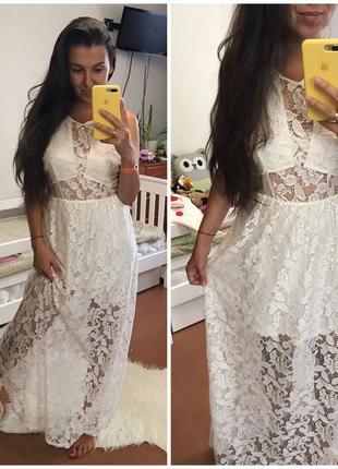 Красиво белое кружевное платье в пол с открытой спинкой h&m divided свадебное