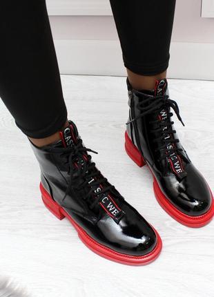 """Ботинки """"""""smile"""""""" черные с красным"""
