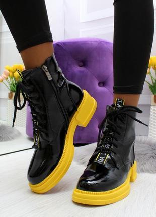 """Ботинки """"""""smile"""""""" черные с желтым"""