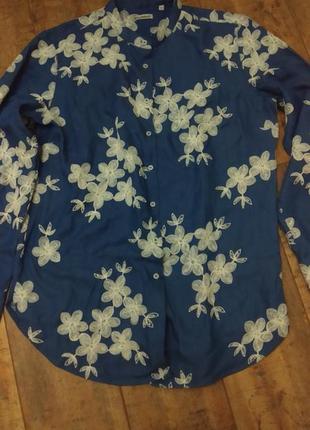 Женская джинсовая рубашка с вышивкой италия