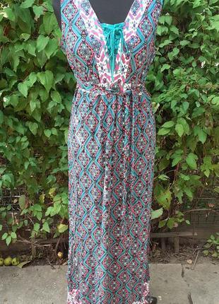 Платье сарафан яркий завязки принт орнамент переплет с поясом макси вискоза