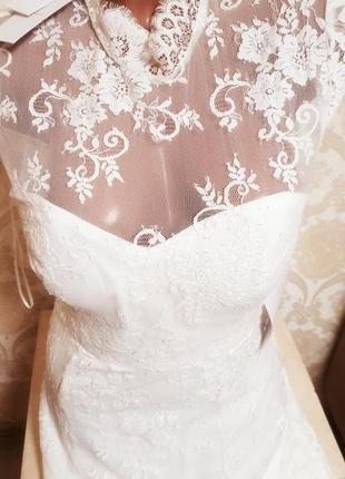 Шикарное кружевное необыкновенное свадебное платье
