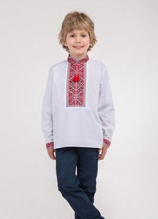 Детская вышиванка для мальчика вишиванка для хлопчика красный орнамент рубашка в школу