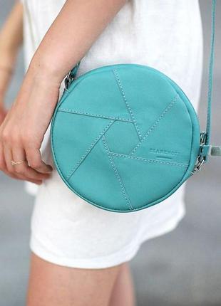 Кожаная круглая женская сумка бон-бон бирюзовая