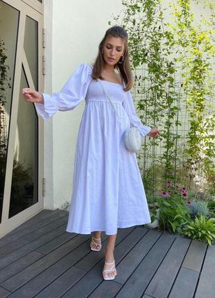 Платье льняное, сарафан, открытые плечи