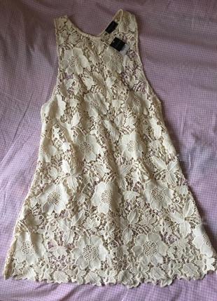 Кружевное платье-сарафан-таника, размер л