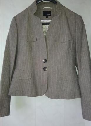 Элегантный базовый шерстяной пиджак жакет в лёгкую полоску next