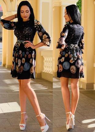 Шикарное летнее платье/ кружево/ принт монеты и цветы.