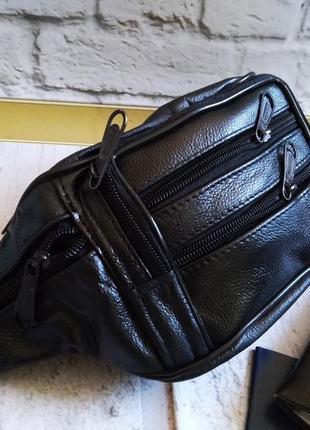 Кожаная сумка натуральная кожа барсетка бананка
