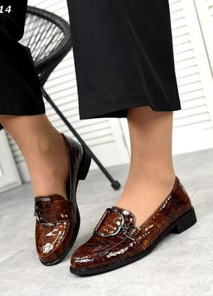 Стильные туфли-лоферы  с кожи под  питона код:кк 3314