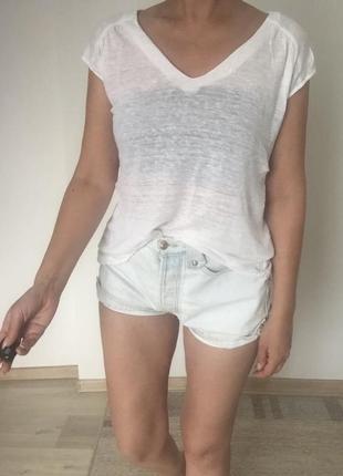 Massimo dutti футболка лен новая xs s белая