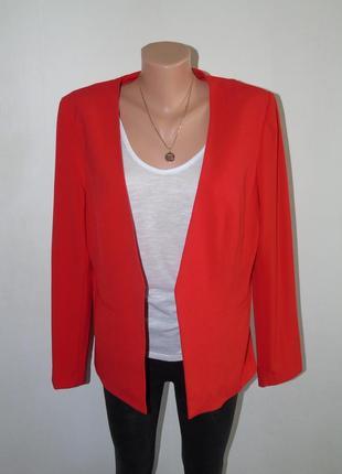 Красный базовый пиджак без застежек 16 размера