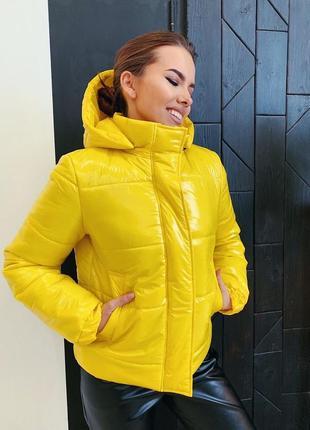 Куртка яркая лаковая плащевка монклер синтепух 150