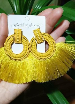 Серьги жёлтые бахрома нити кисти сережки