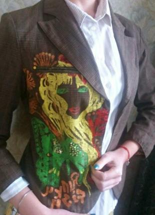 Жакет с росписью пиджак в клетку