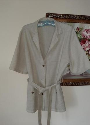 Немецкий льняной пиджак. льняная блуза. блуза с поясом. сафари.